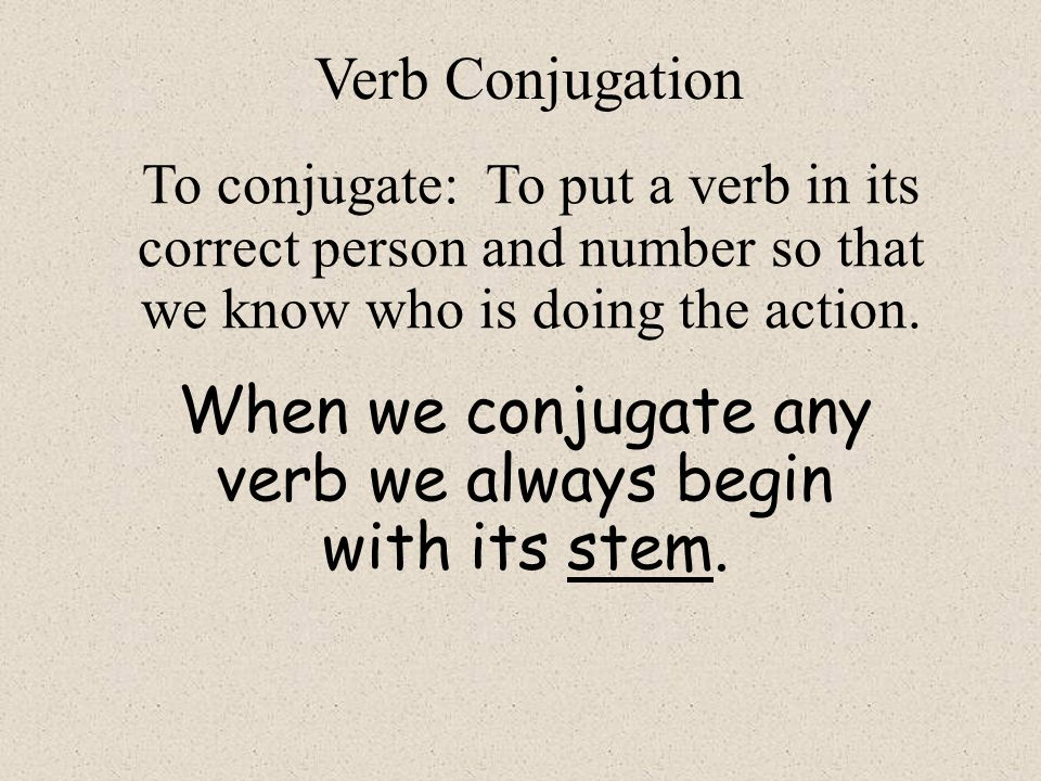 When we conjugate any verb we always begin with its stem.