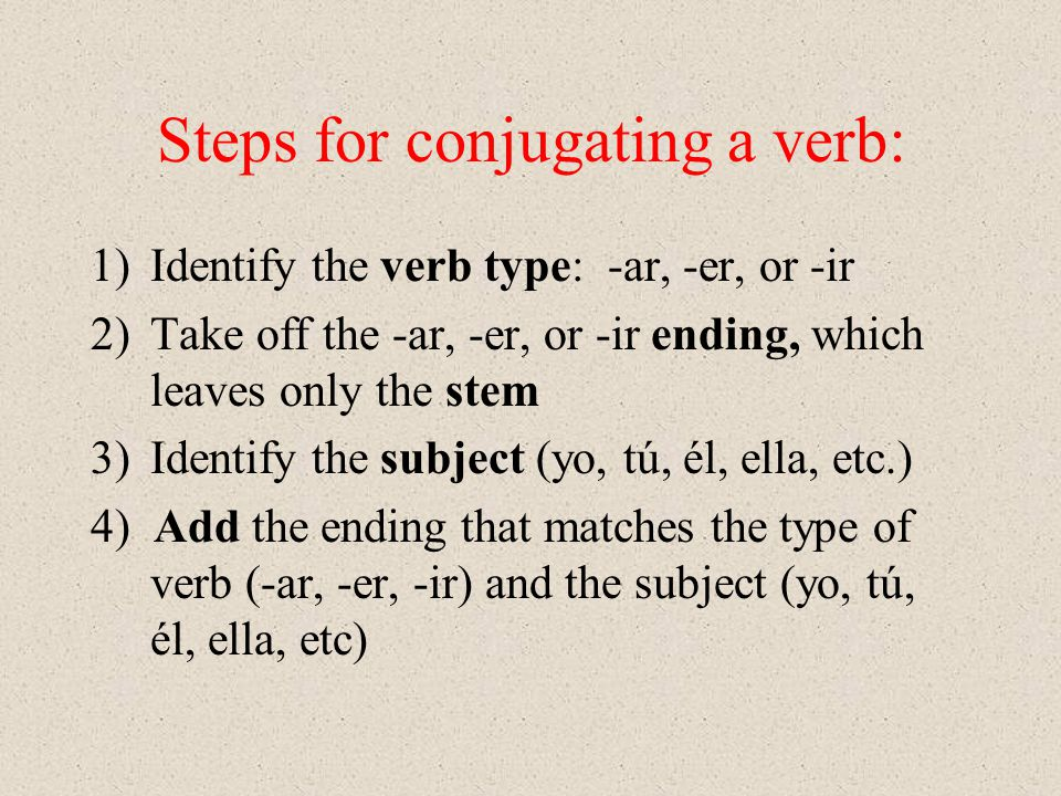 Steps for conjugating a verb: