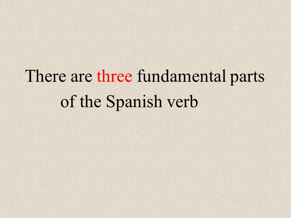 There are three fundamental parts of the Spanish verb