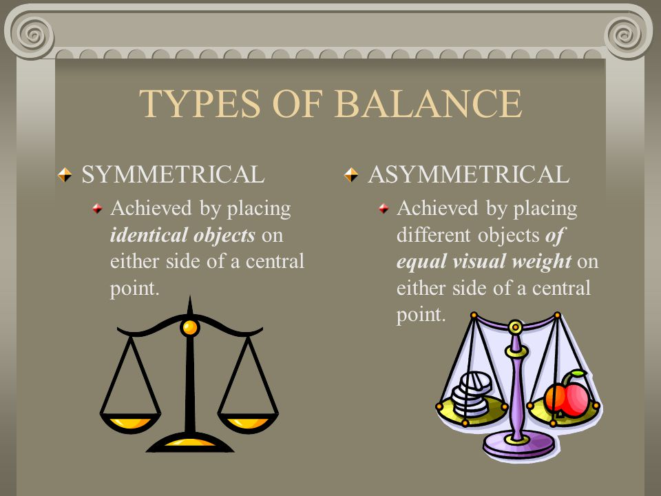 TYPES OF BALANCE SYMMETRICAL ASYMMETRICAL