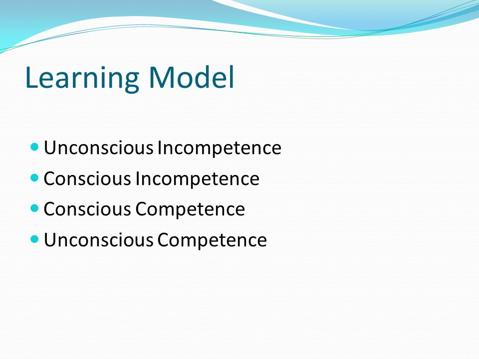 Learning Model Unconscious Incompetence Conscious Incompetence