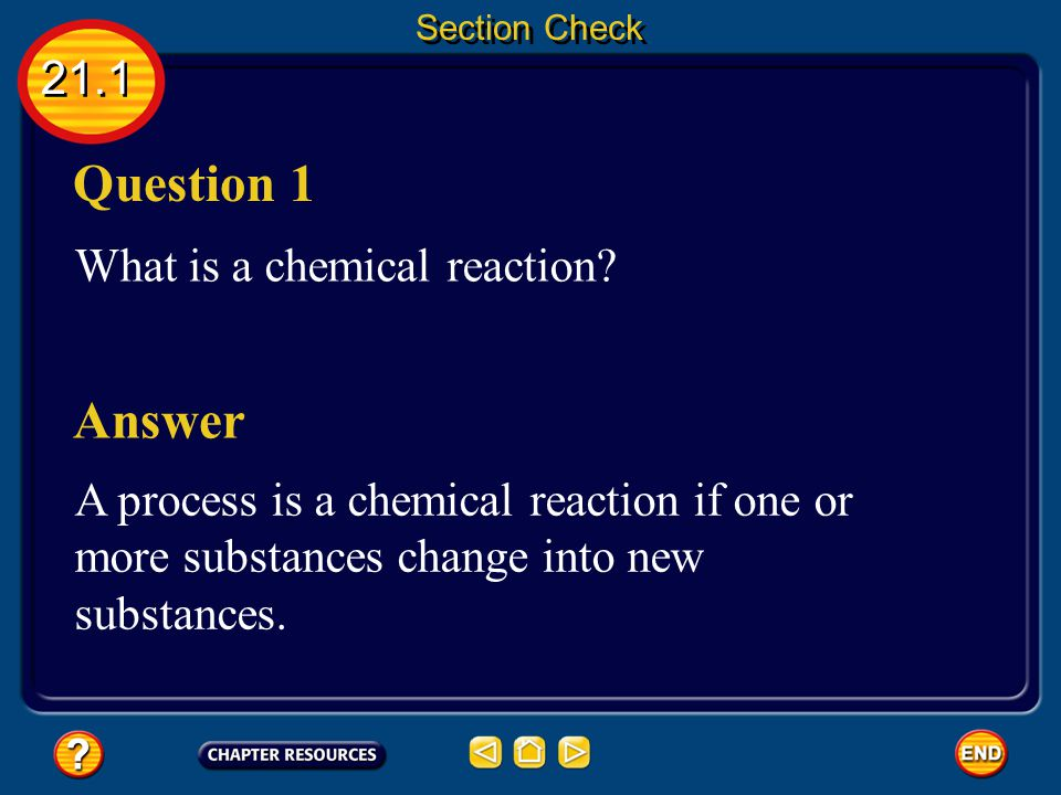 Question 1 Answer 21.1 What is a chemical reaction