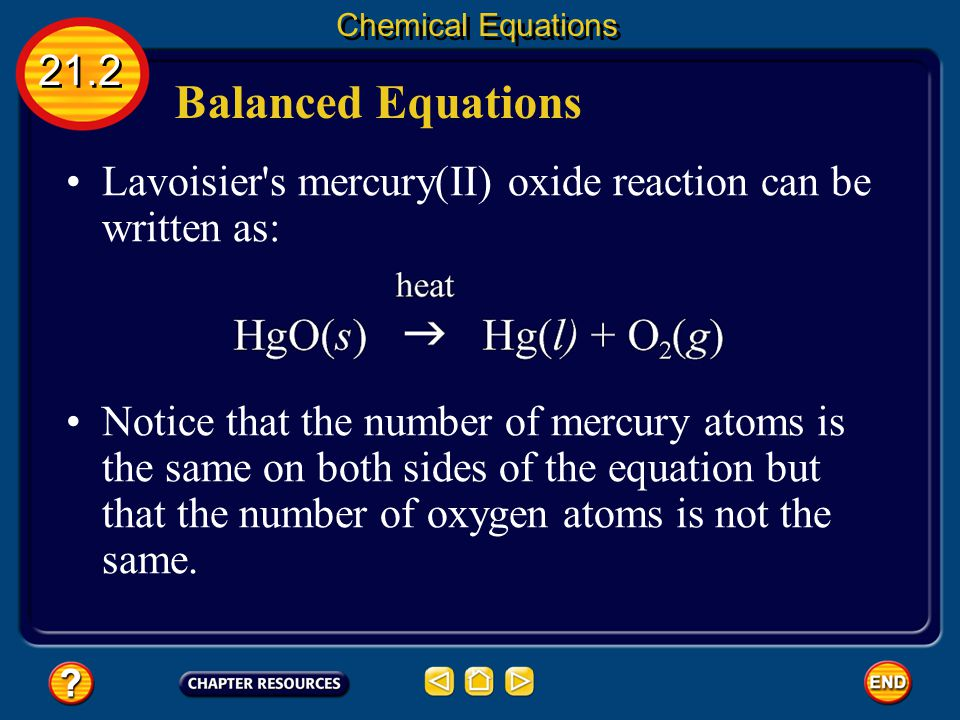 Chemical Equations 21.2. Balanced Equations. Lavoisier s mercury(II) oxide reaction can be written as:
