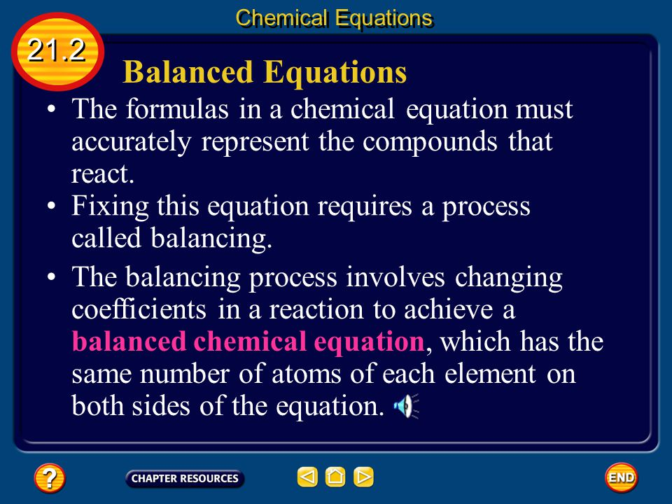 Chemical Equations 21.2. Balanced Equations. The formulas in a chemical equation must accurately represent the compounds that react.
