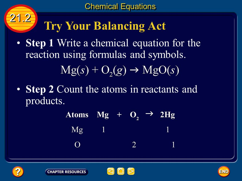 Chemical Equations 21.2. Try Your Balancing Act. Step 1 Write a chemical equation for the reaction using formulas and symbols.