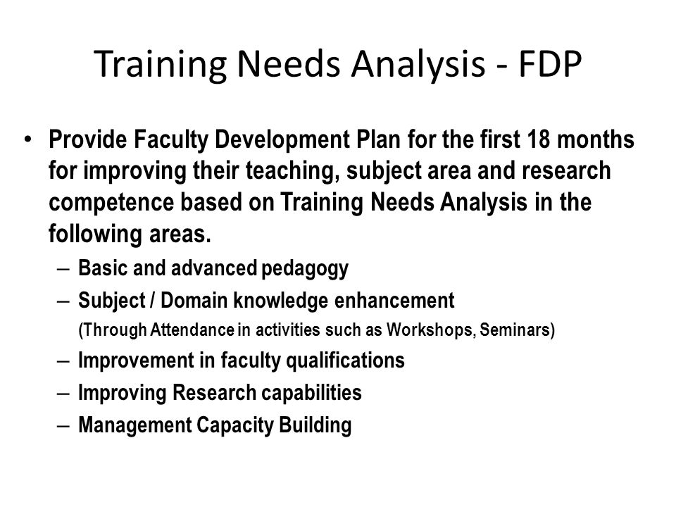 Training Needs Analysis - FDP