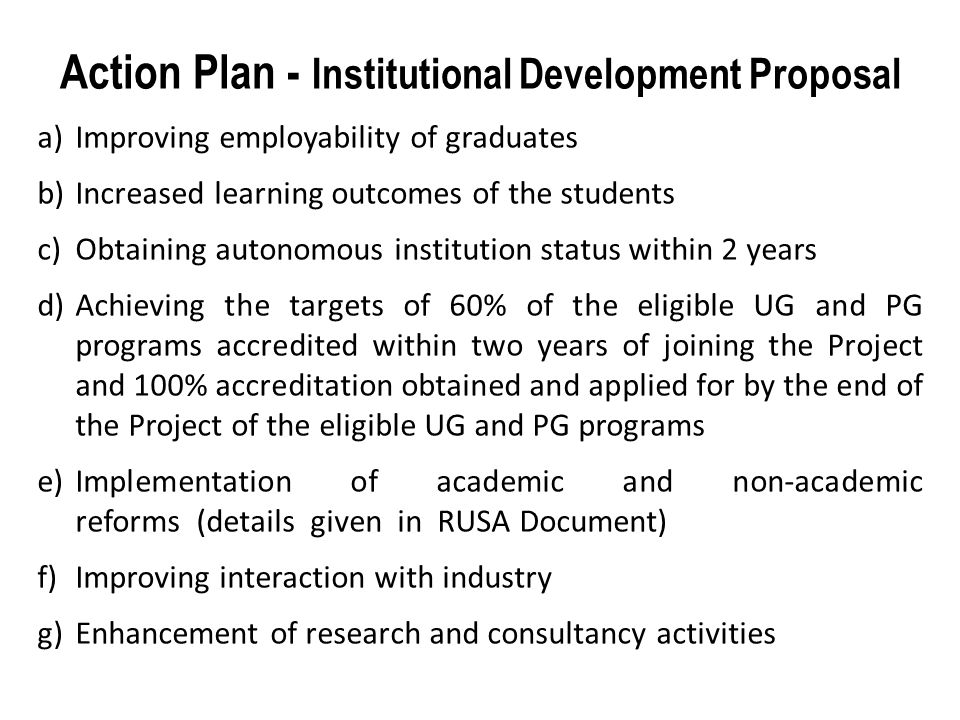 Action Plan - Institutional Development Proposal