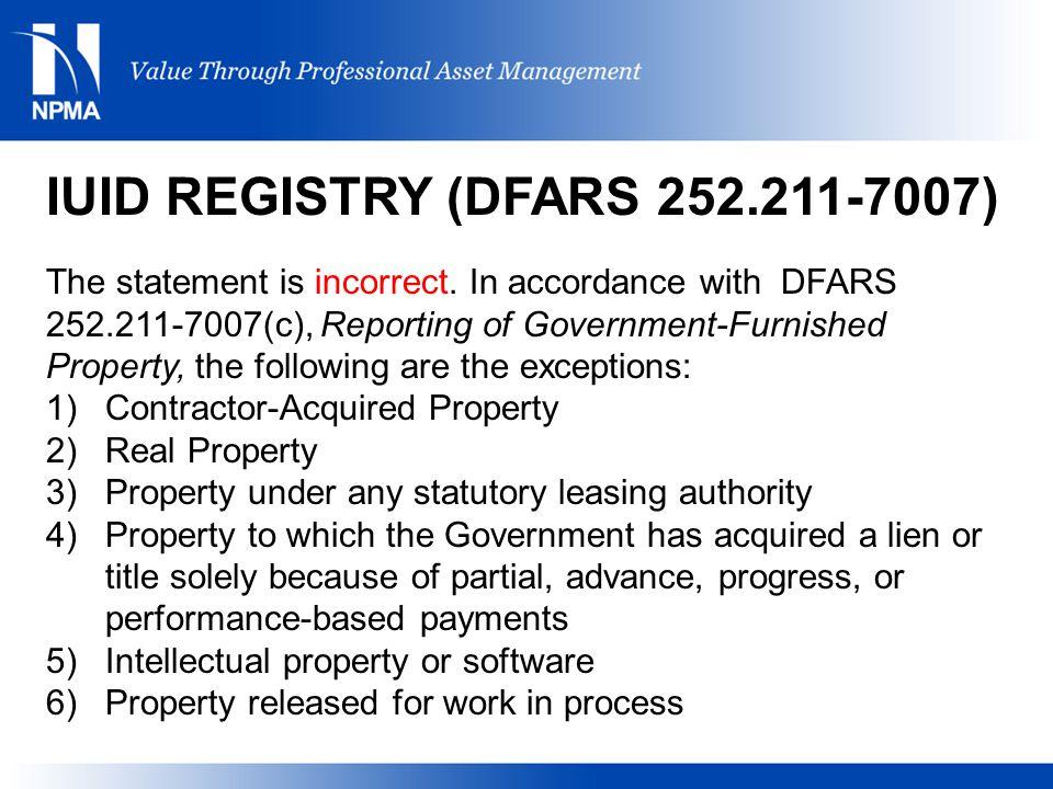 IUID REGISTRY (DFARS 252.211-7007)