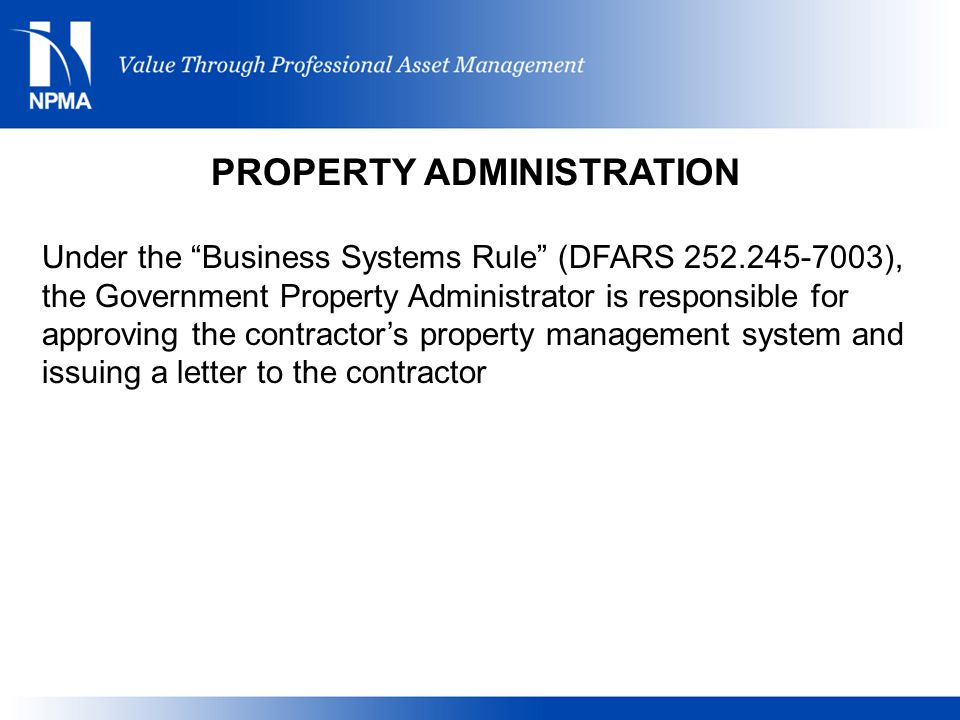 PROPERTY ADMINISTRATION