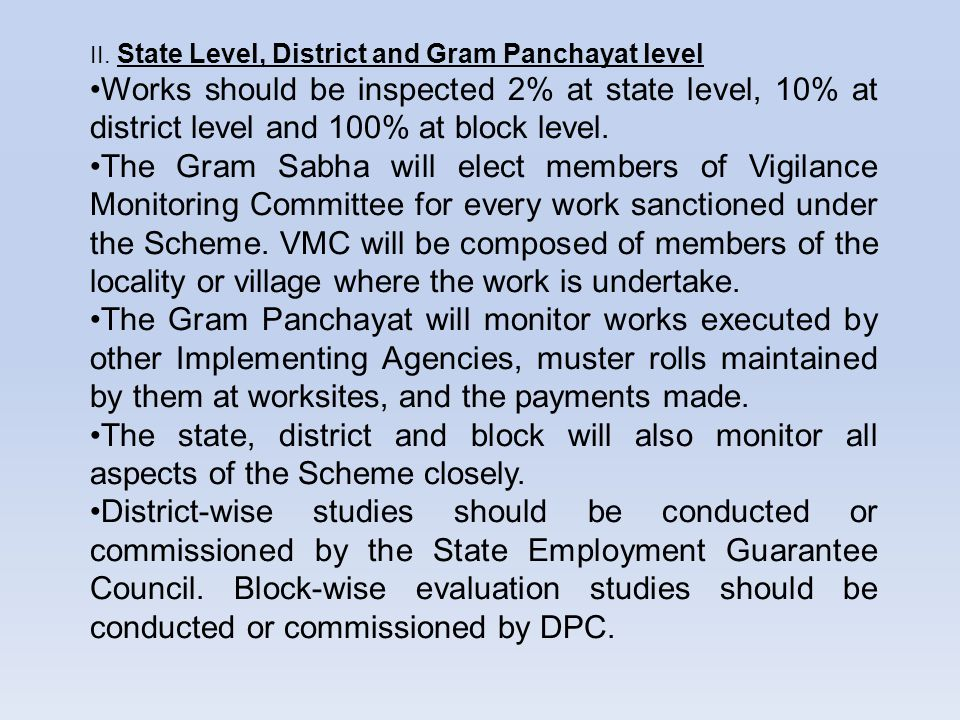 II. State Level, District and Gram Panchayat level