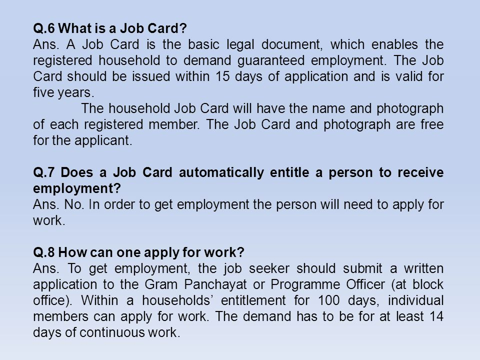 Q.6 What is a Job Card