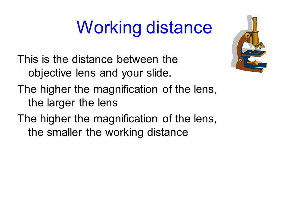 Working distance This is the distance between the objective lens and your slide. The higher the magnification of the lens, the larger the lens.