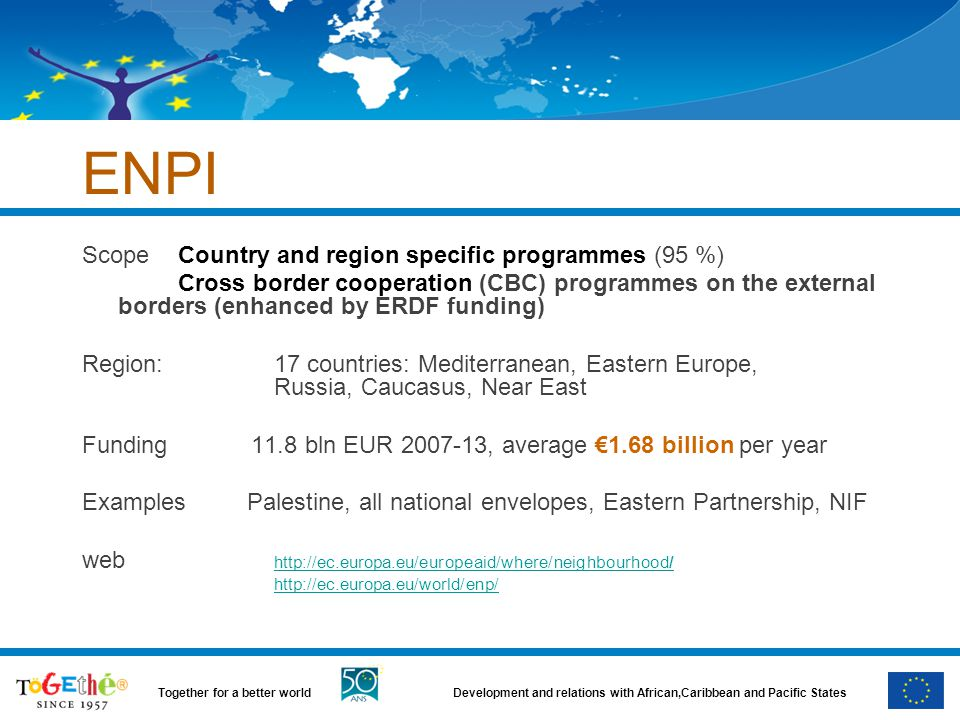 ENPI Scope Country and region specific programmes (95 %)