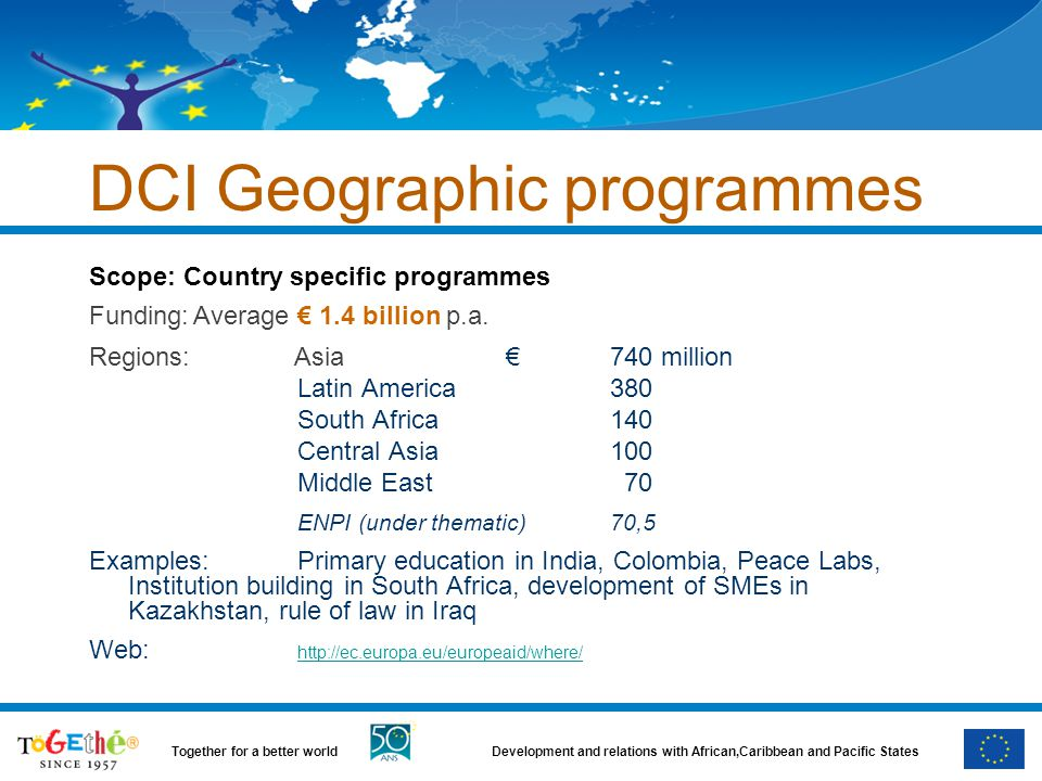 DCI Geographic programmes