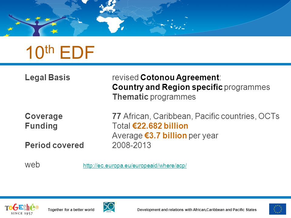 10th EDF Legal Basis revised Cotonou Agreement: