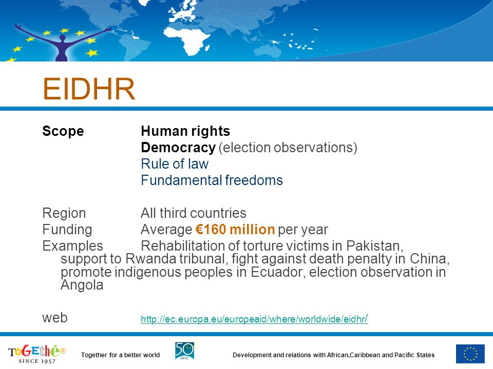 EIDHR Scope Human rights Democracy (election observations) Rule of law