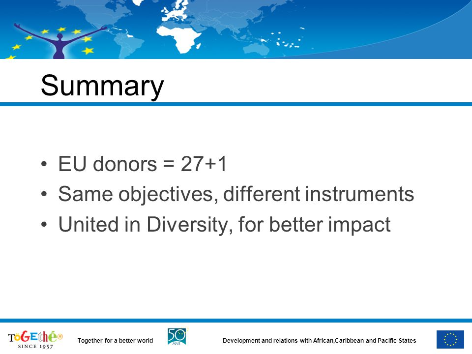 Summary EU donors = 27+1 Same objectives, different instruments