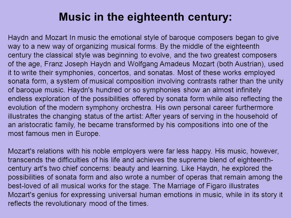 Music in the eighteenth century: