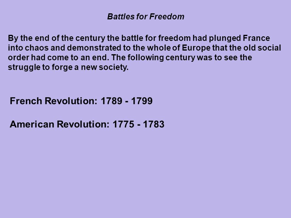American Revolution: 1775 - 1783