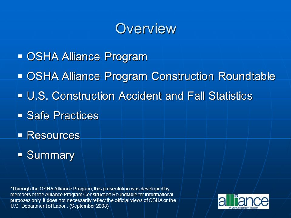 Overview OSHA Alliance Program