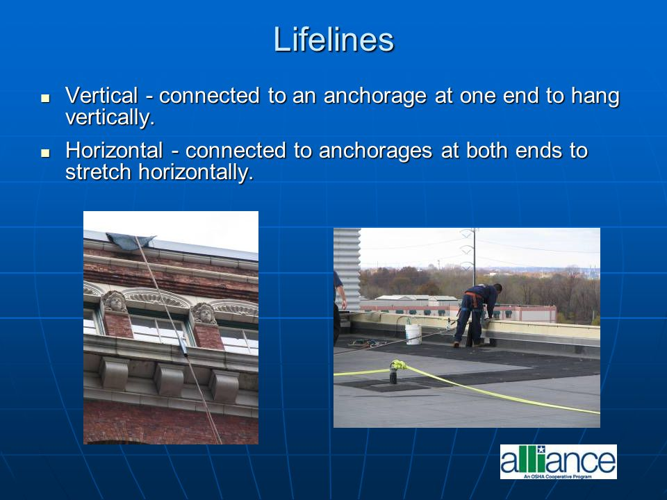 Lifelines Vertical - connected to an anchorage at one end to hang vertically.