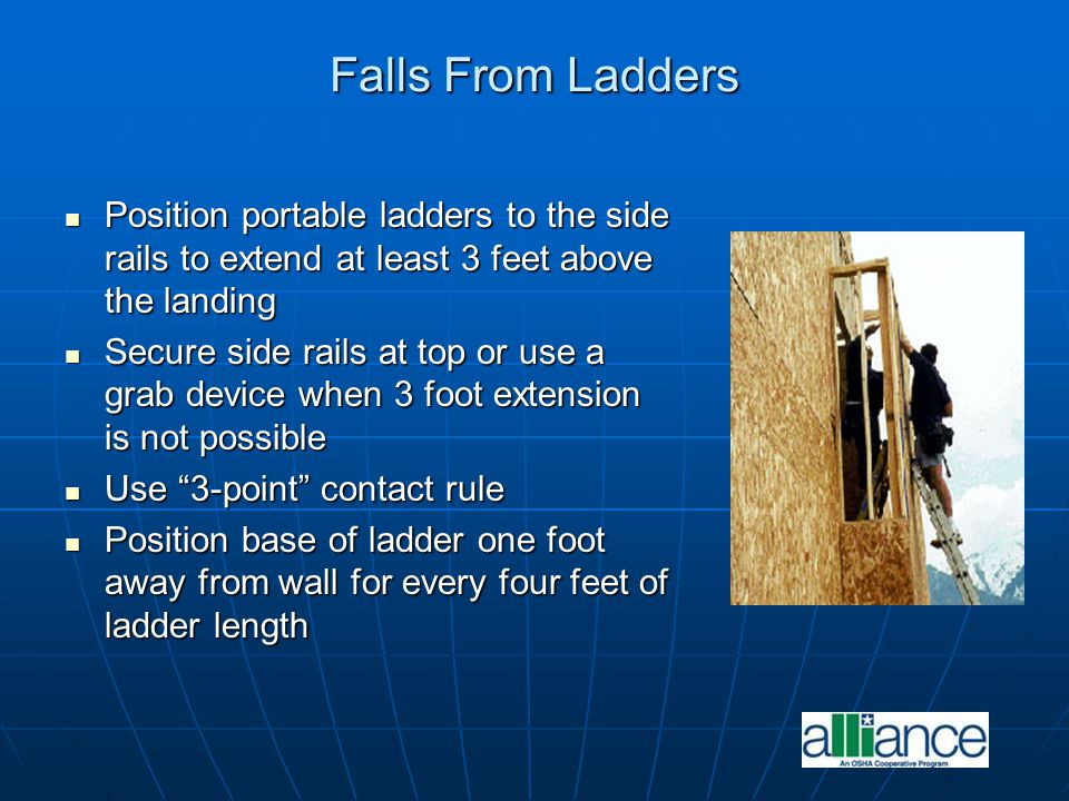 Falls From Ladders Position portable ladders to the side rails to extend at least 3 feet above the landing.