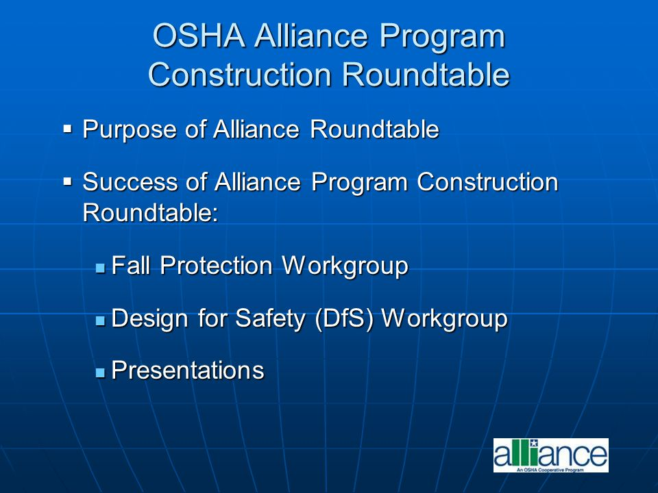 OSHA Alliance Program Construction Roundtable
