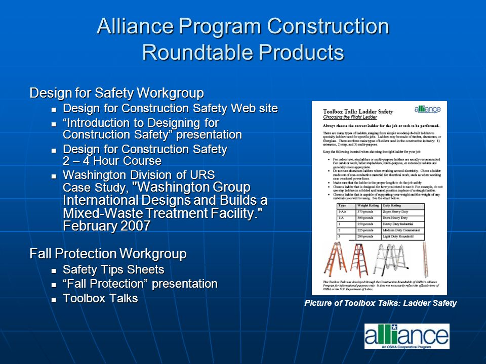 Alliance Program Construction Roundtable Products