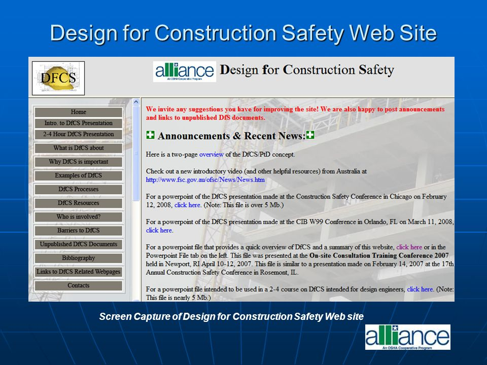 Design for Construction Safety Web Site