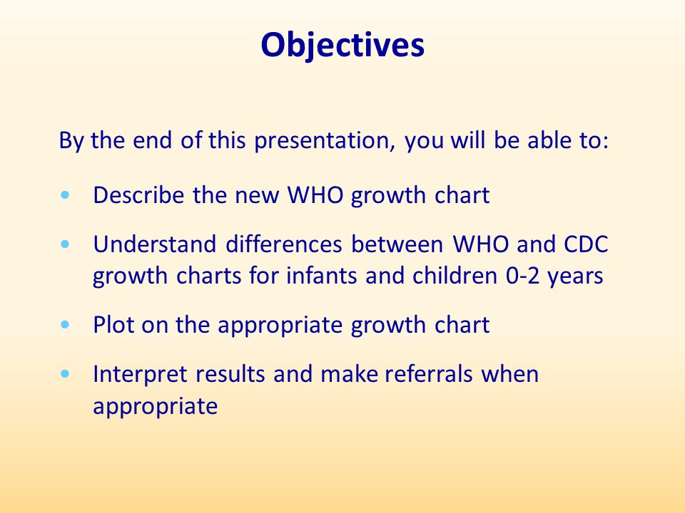 Objectives By the end of this presentation, you will be able to: