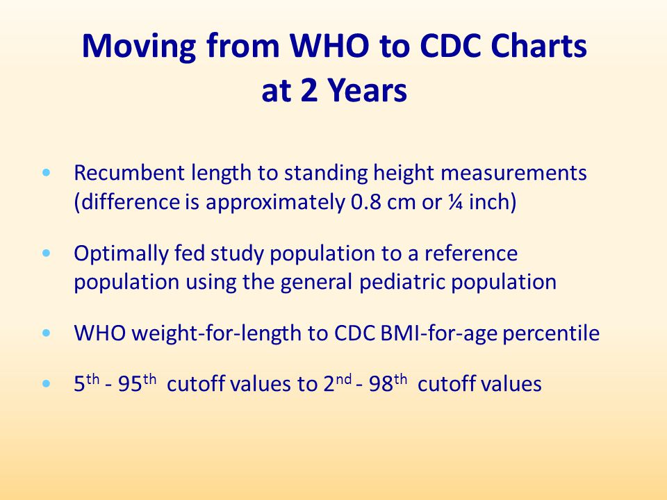 Moving from WHO to CDC Charts at 2 Years