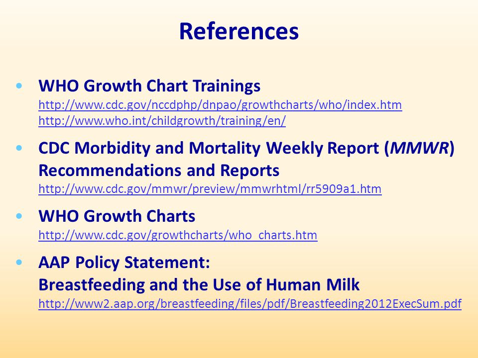 References WHO Growth Chart Trainings