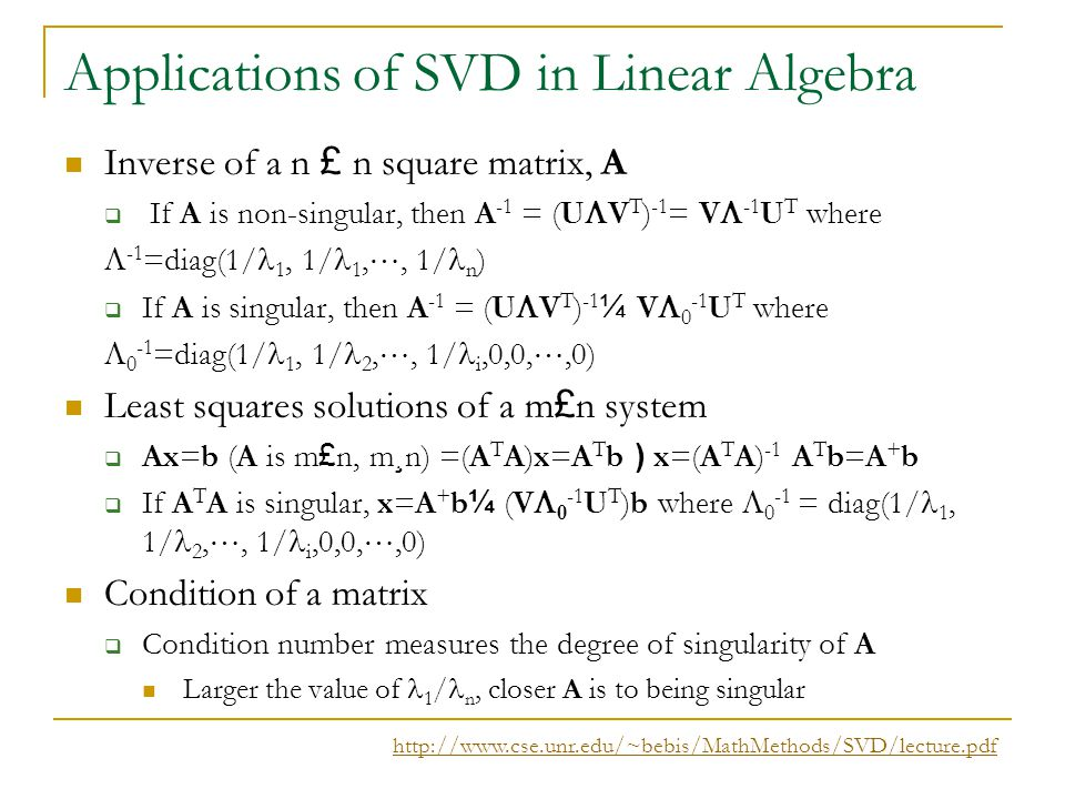 Applications of SVD in Linear Algebra
