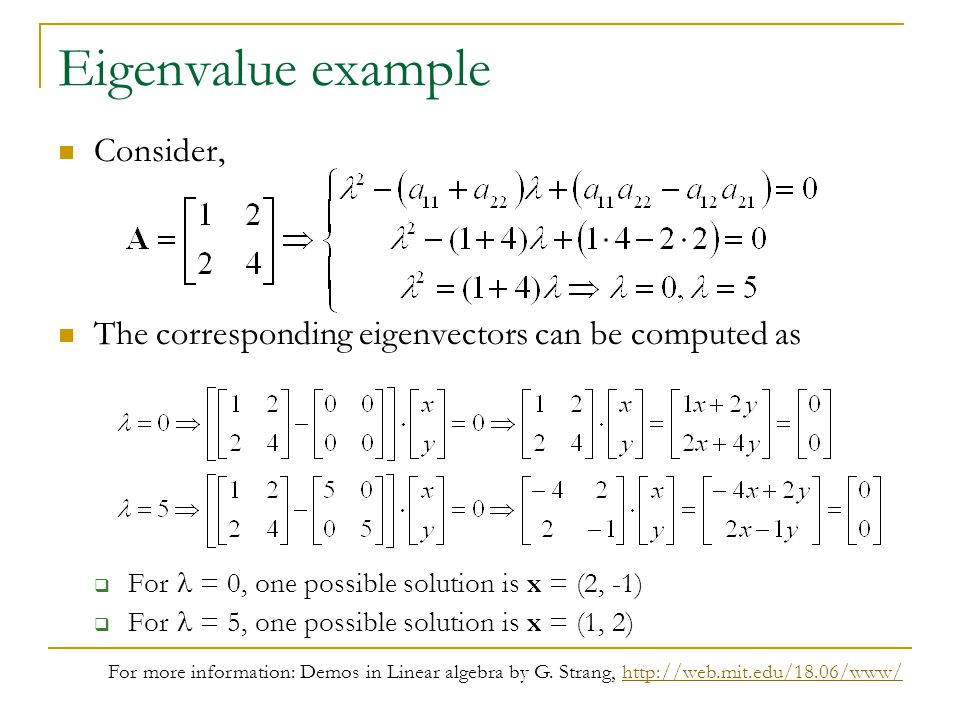 Eigenvalue example Consider,