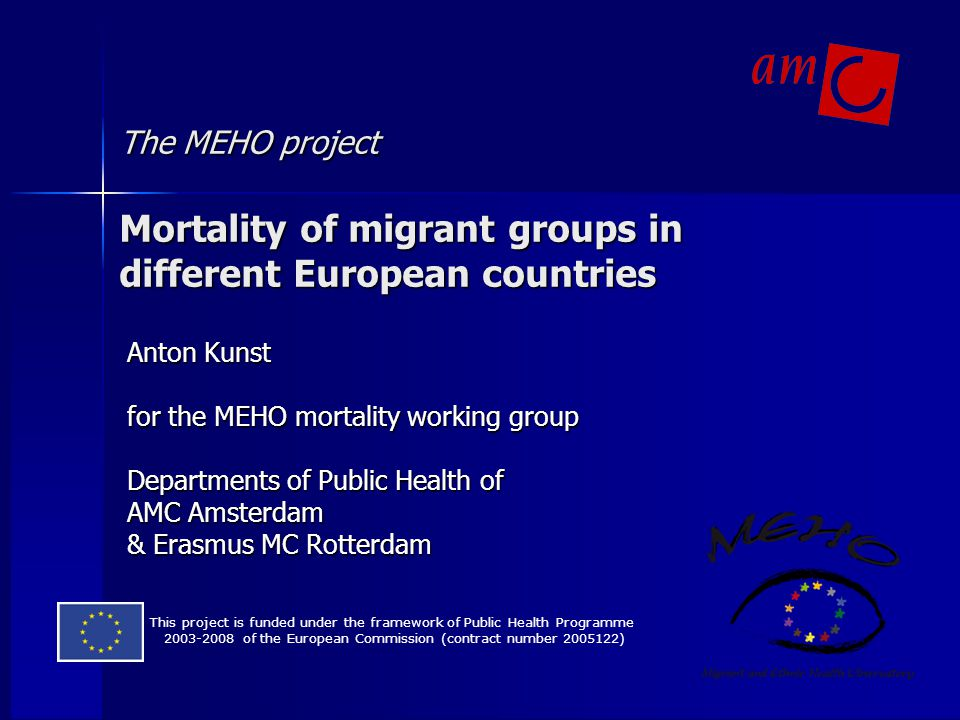 The MEHO project Mortality of migrant groups in different European countries
