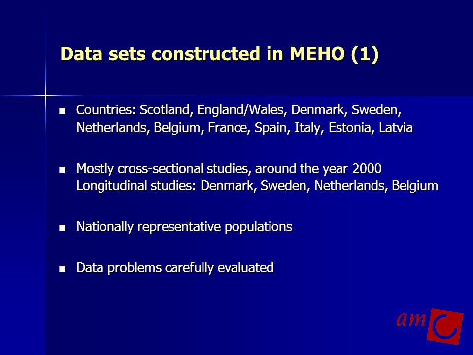 Data sets constructed in MEHO (1)