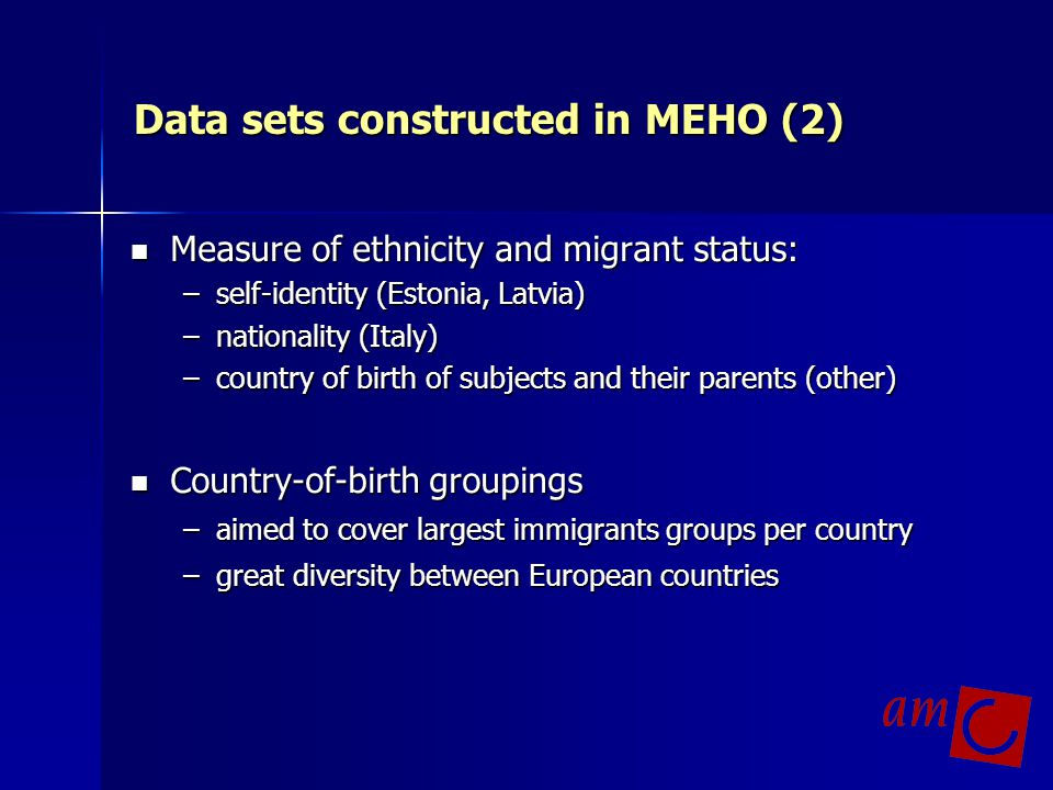 Data sets constructed in MEHO (2)
