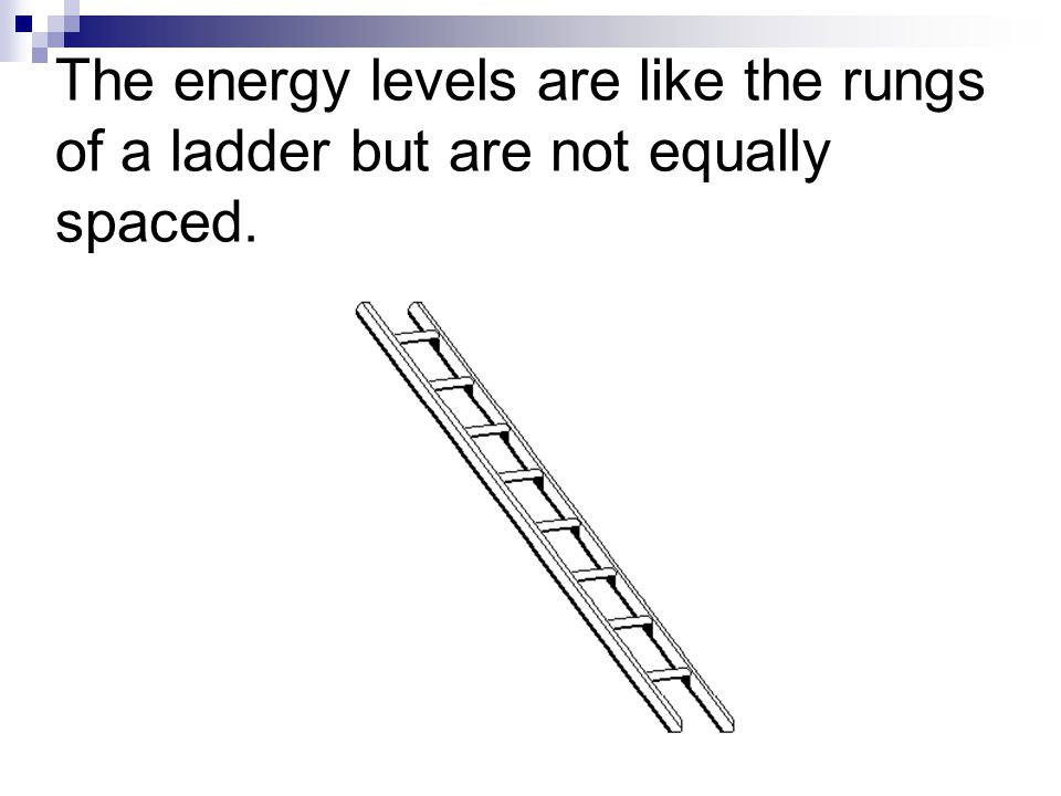 The energy levels are like the rungs of a ladder but are not equally spaced.