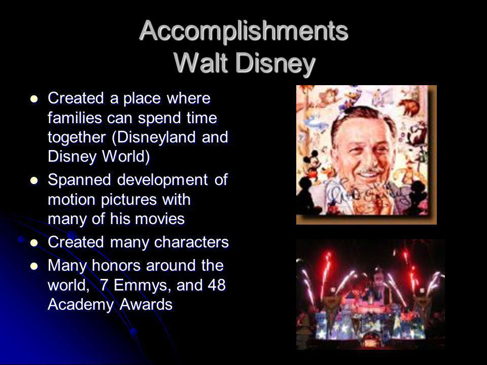 Accomplishments Walt Disney