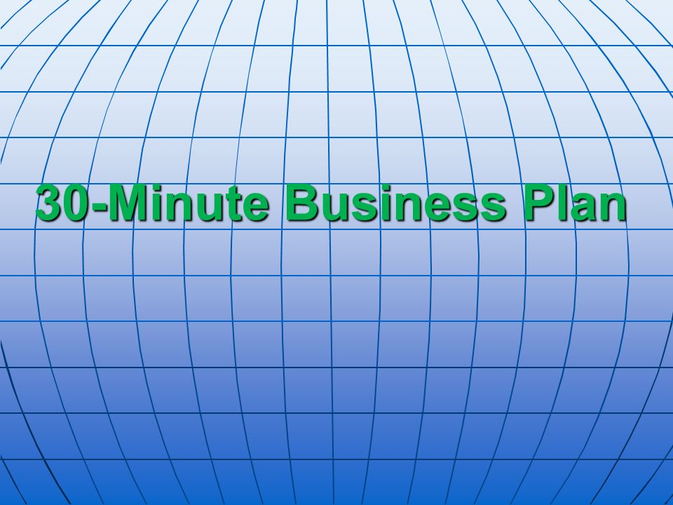 30-Minute Business Plan