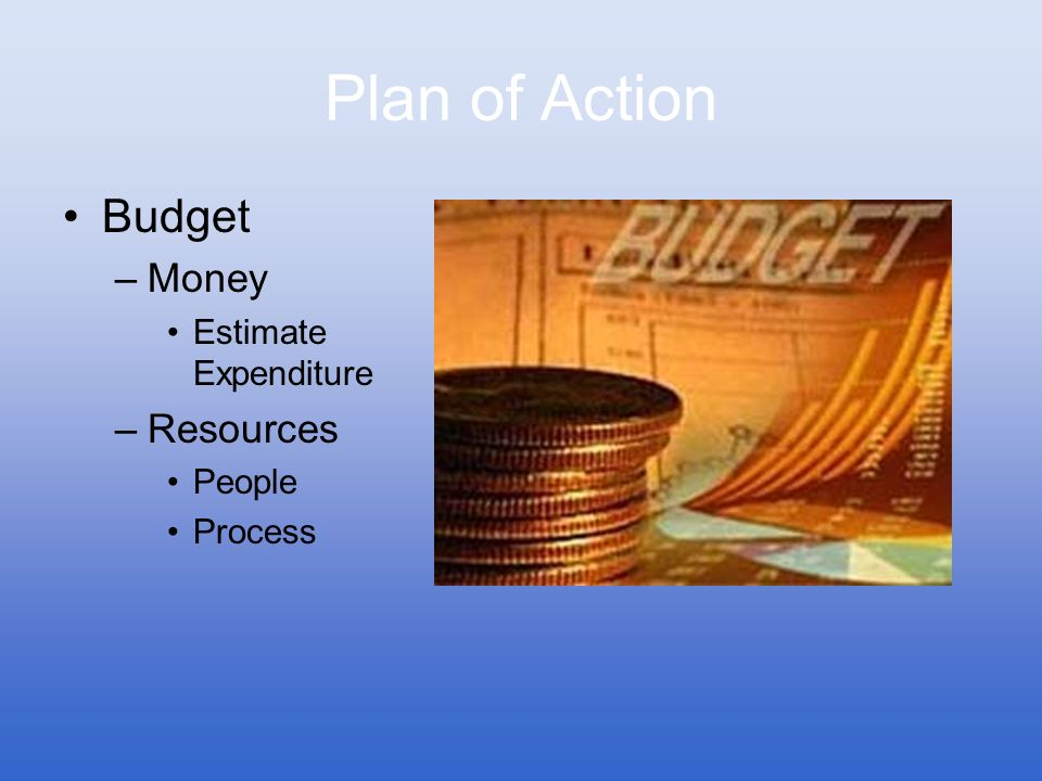 Plan of Action Budget Money Resources Estimate Expenditure People