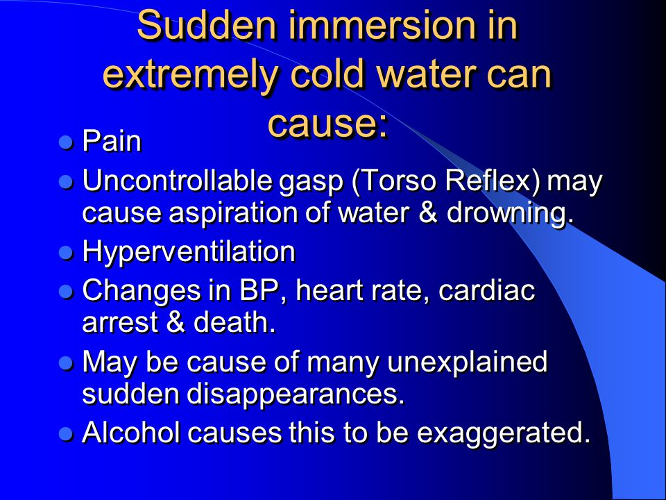 Sudden immersion in extremely cold water can cause: