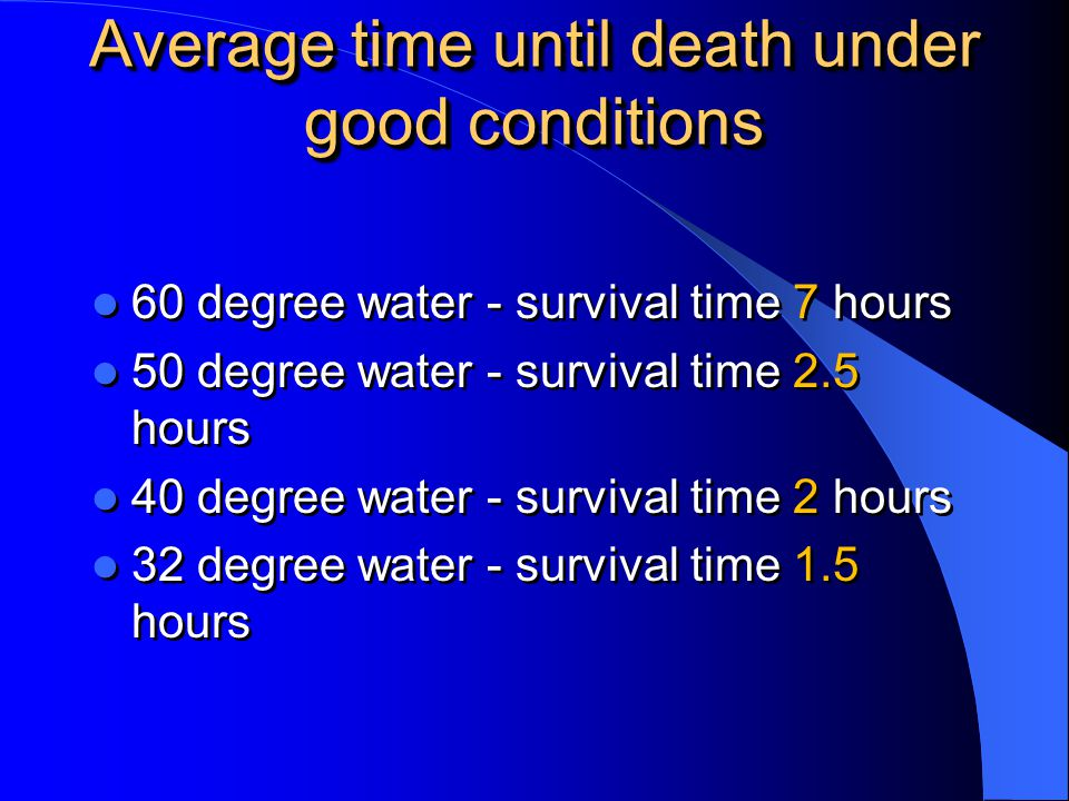 Average time until death under good conditions
