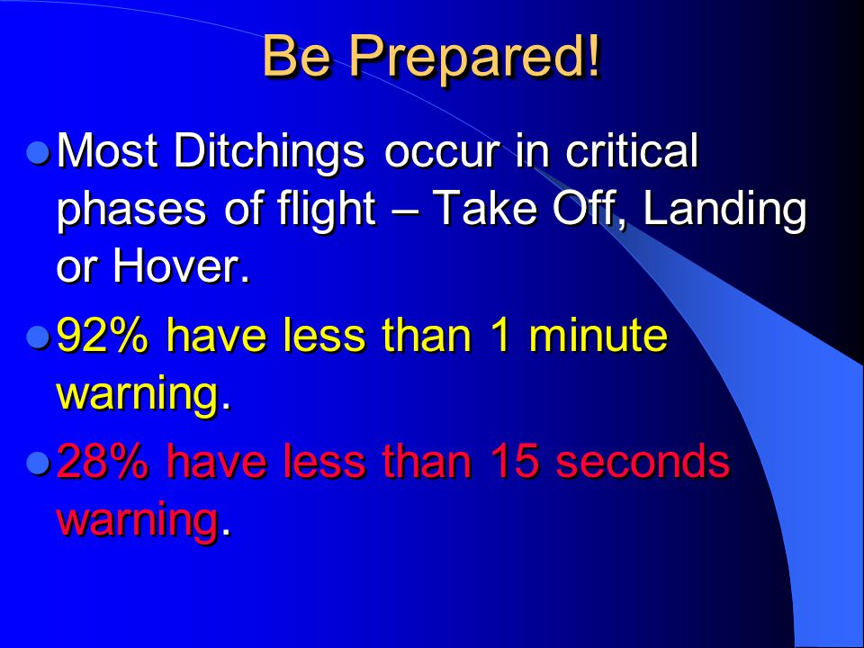 Be Prepared! Most Ditchings occur in critical phases of flight – Take Off, Landing or Hover. 92% have less than 1 minute warning.
