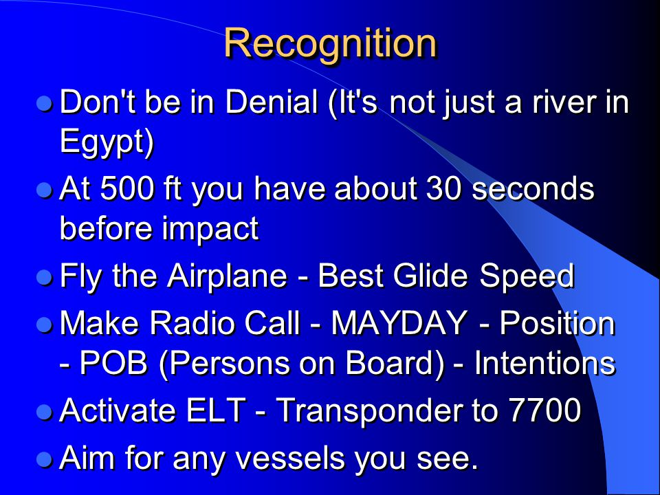 Recognition Don t be in Denial (It s not just a river in Egypt)