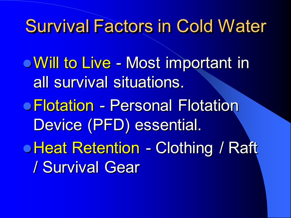 Survival Factors in Cold Water