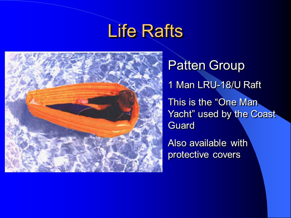 Life Rafts Patten Group 1 Man LRU-18/U Raft
