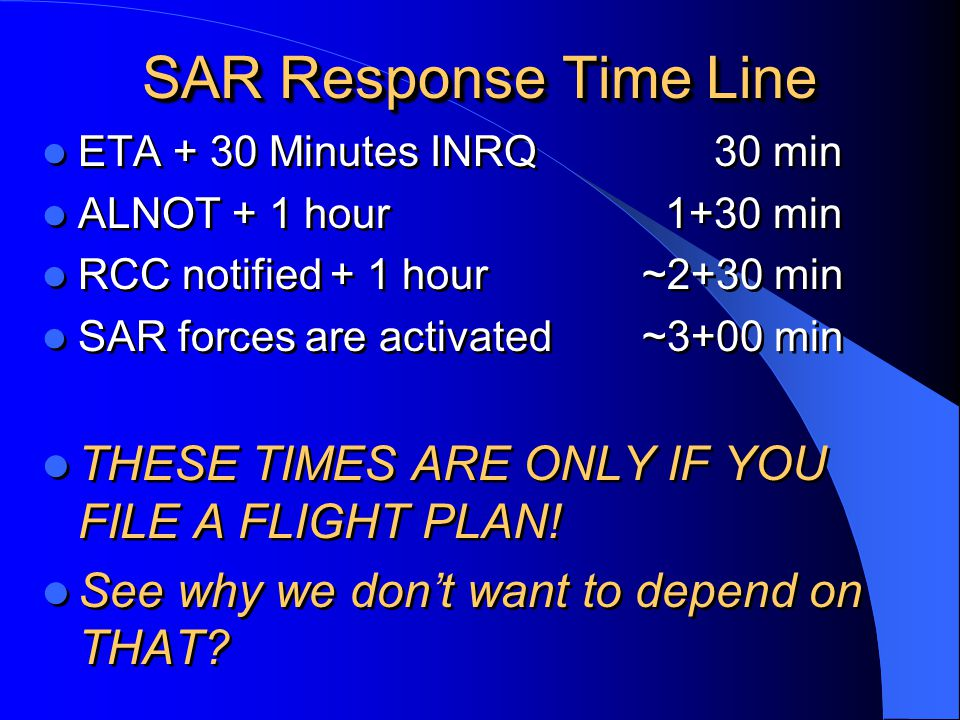 SAR Response Time Line THESE TIMES ARE ONLY IF YOU FILE A FLIGHT PLAN!