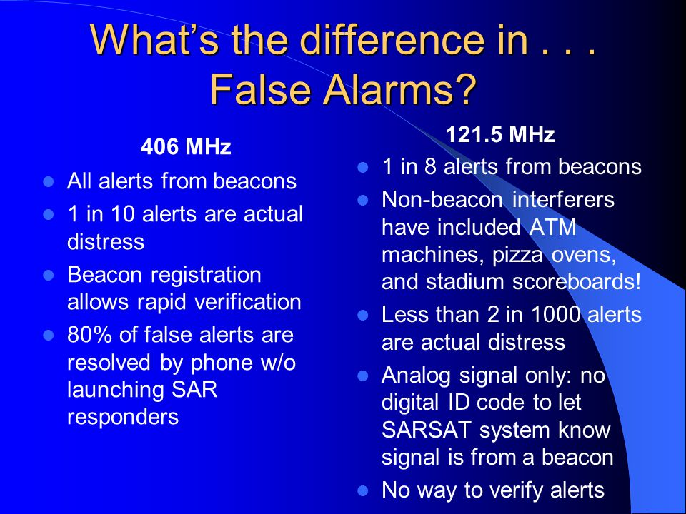 What's the difference in . . . False Alarms