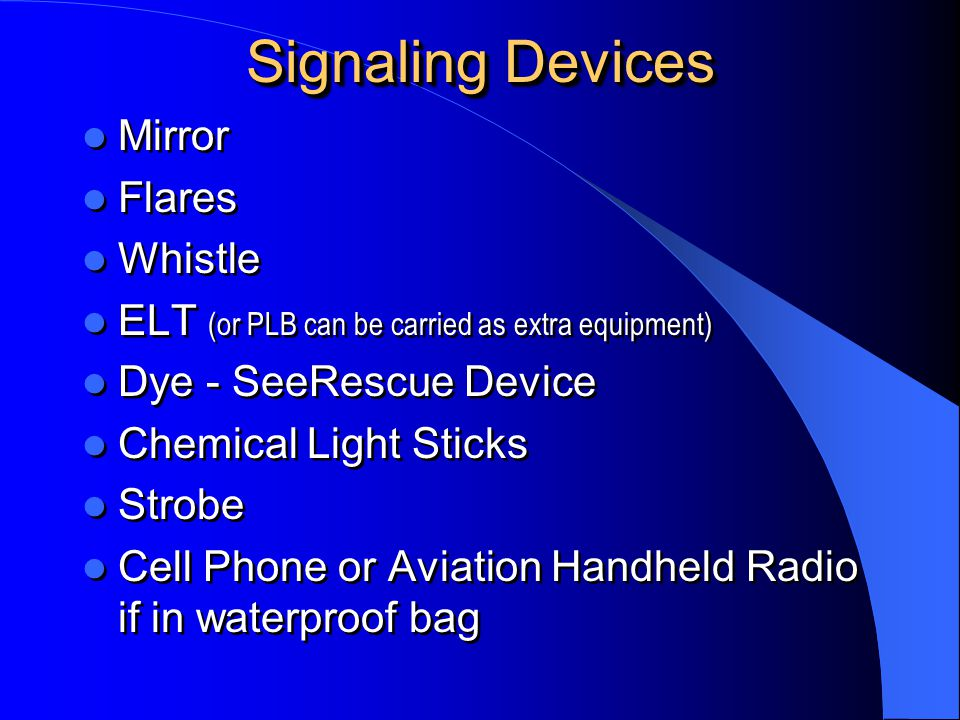 Signaling Devices Mirror Flares Whistle